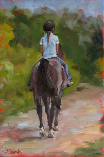 Horse and Girl Oil Painting S Filarsky